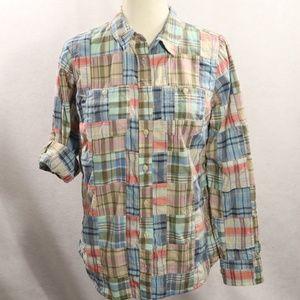 LL Bean Cotton Plaid Shirt Button Up Long S
